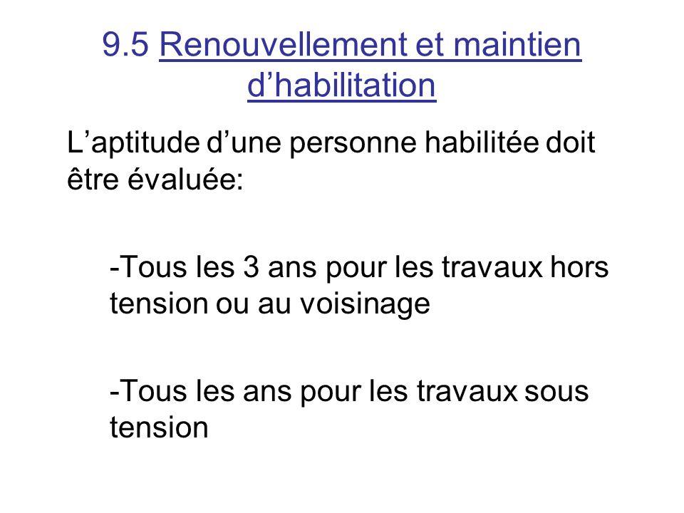9.5 Renouvellement et maintien d'habilitation