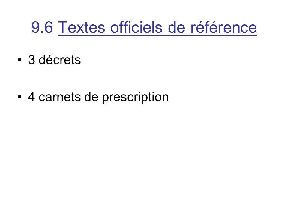 9.6 Textes officiels de référence