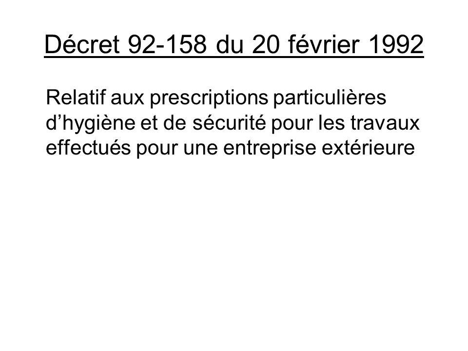 Décret 92-158 du 20 février 1992