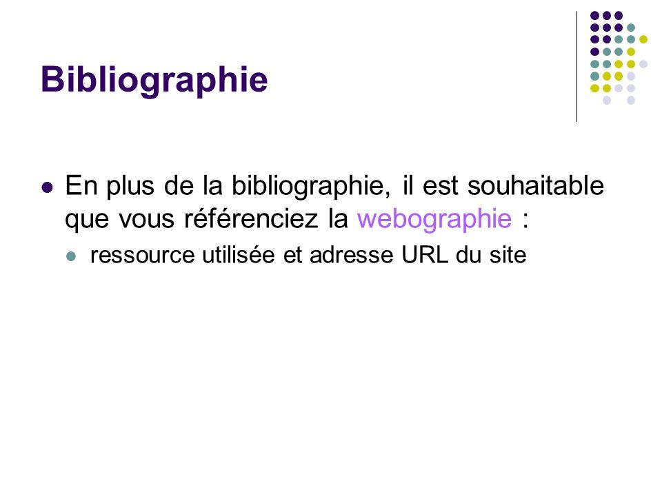 Bibliographie En plus de la bibliographie, il est souhaitable que vous référenciez la webographie :