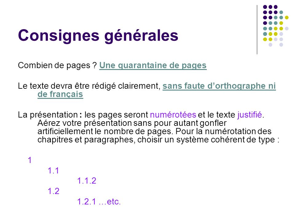Consignes générales Combien de pages Une quarantaine de pages