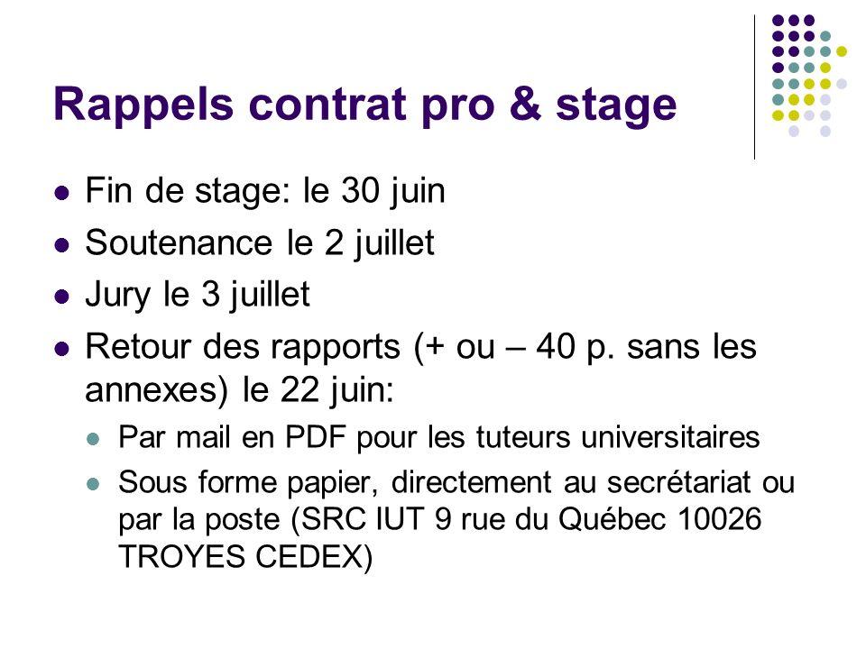 Rappels contrat pro & stage