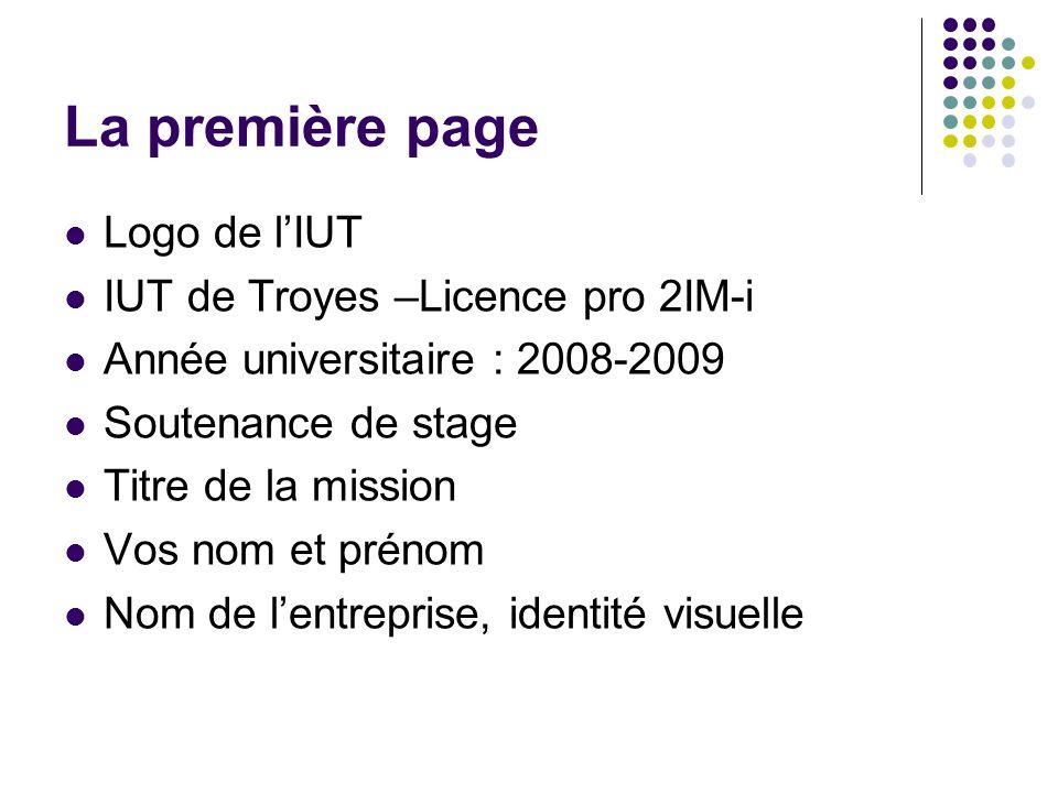La première page Logo de l'IUT IUT de Troyes –Licence pro 2IM-i