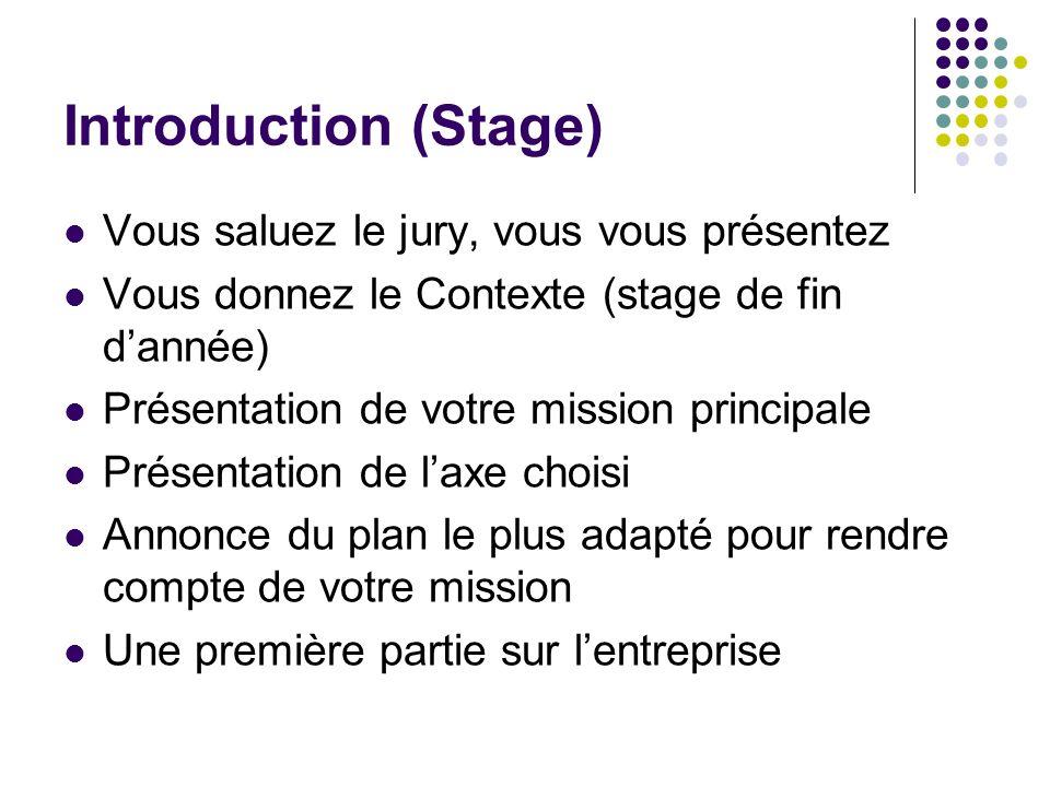 Introduction (Stage) Vous saluez le jury, vous vous présentez