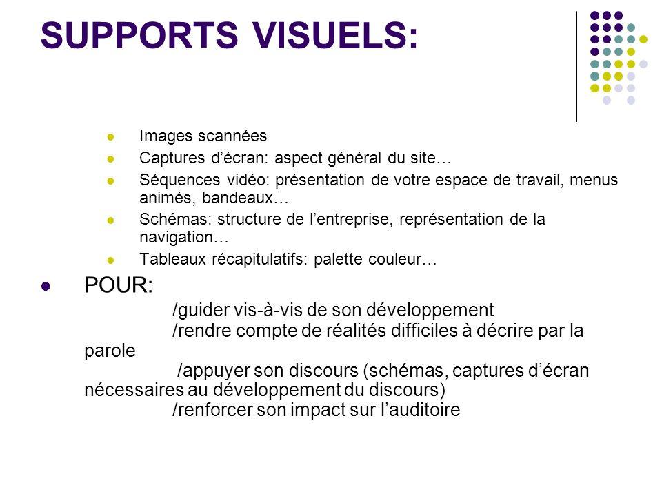 SUPPORTS VISUELS: Images scannées. Captures d'écran: aspect général du site…