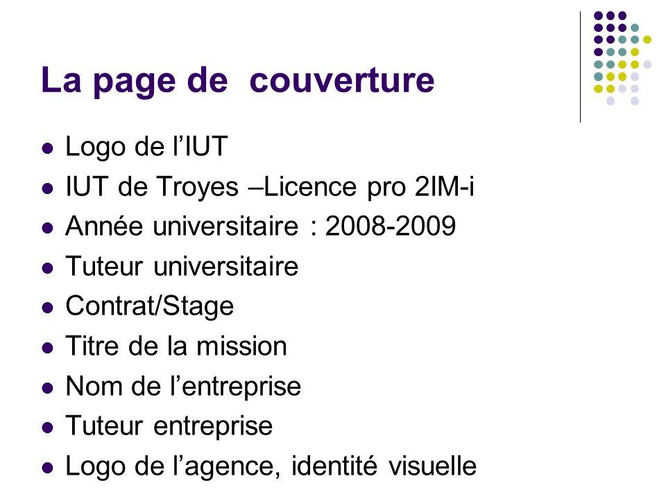 La page de couverture Logo de l'IUT IUT de Troyes –Licence pro 2IM-i