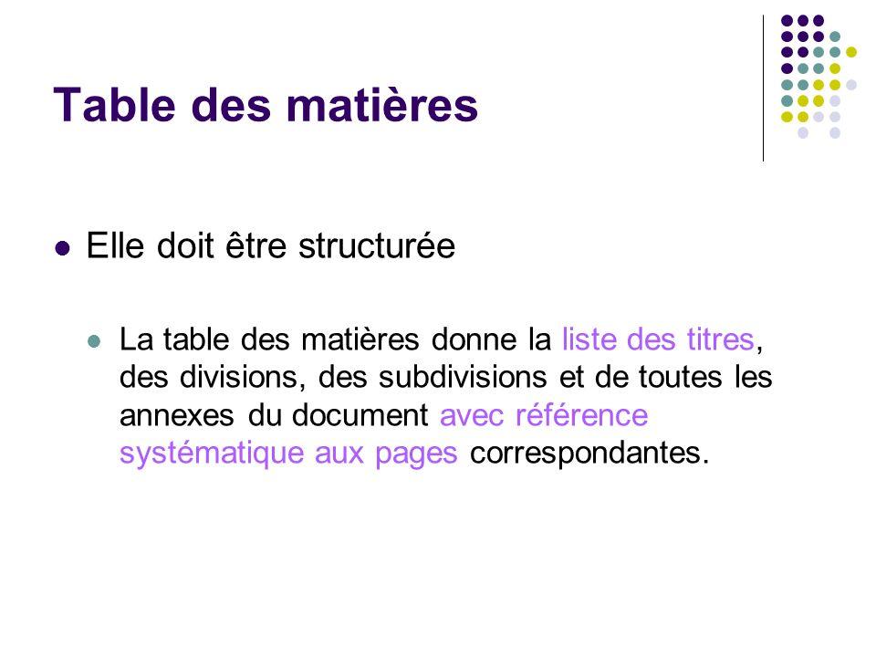Table des matières Elle doit être structurée