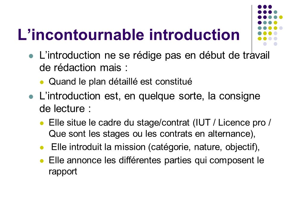 L'incontournable introduction