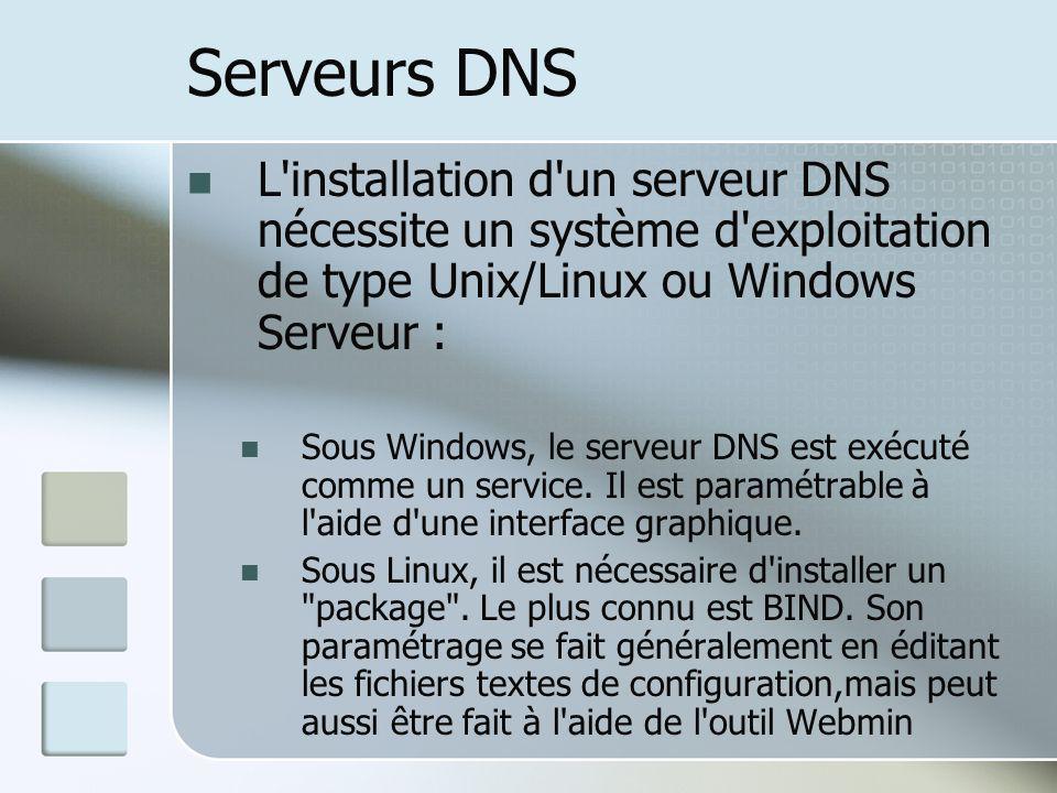Serveurs DNS L installation d un serveur DNS nécessite un système d exploitation de type Unix/Linux ou Windows Serveur :