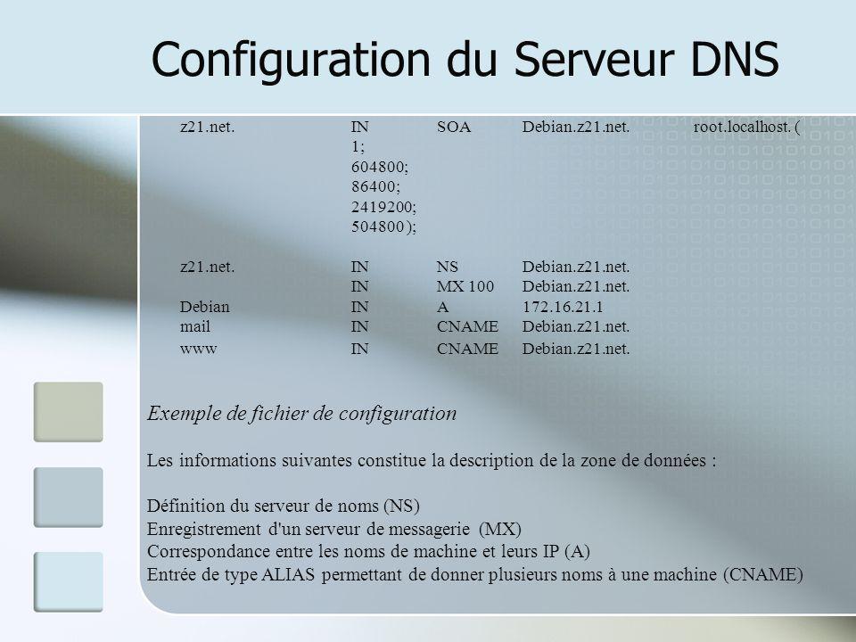 Configuration du Serveur DNS