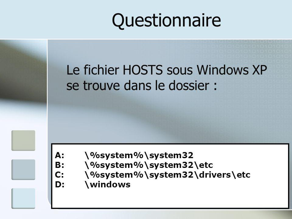 Questionnaire Le fichier HOSTS sous Windows XP se trouve dans le dossier : A: \%system%\system32.