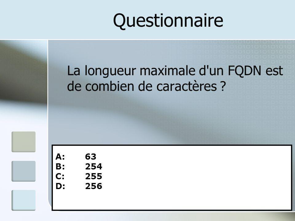 Questionnaire La longueur maximale d un FQDN est de combien de caractères A: 63. B: 254. C: 255.