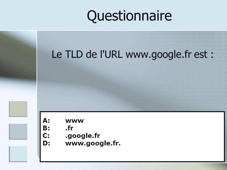 Questionnaire Le TLD de l URL www.google.fr est : A: www B: .fr