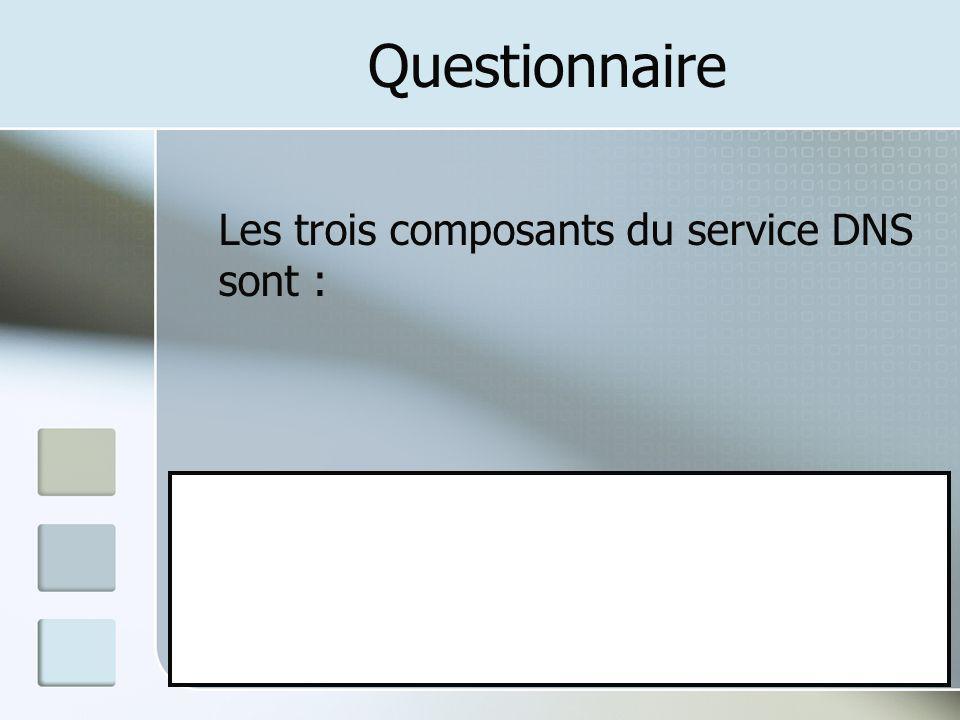 Questionnaire Les trois composants du service DNS sont :