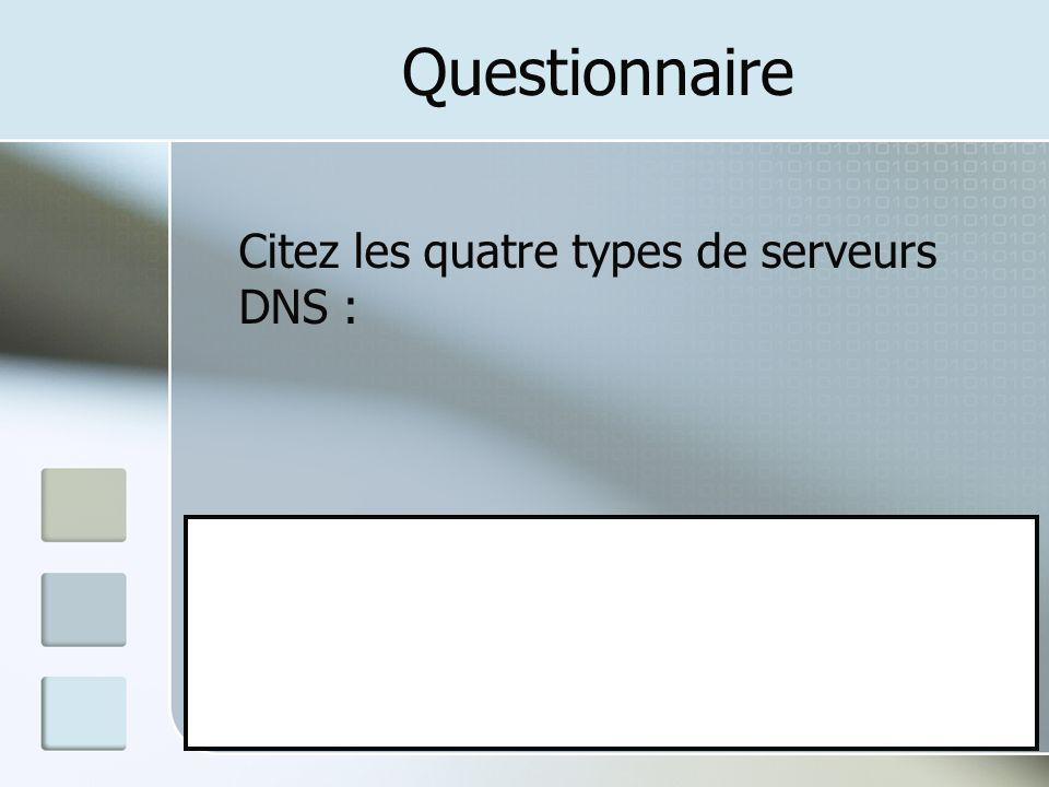 Questionnaire Citez les quatre types de serveurs DNS : A: Primaire