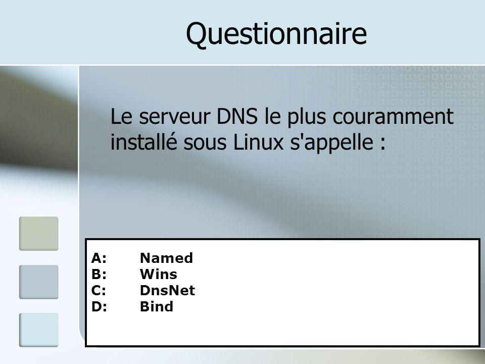Questionnaire Le serveur DNS le plus couramment installé sous Linux s appelle : A: Named. B: Wins.