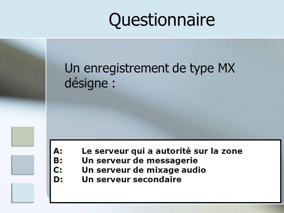 Questionnaire Un enregistrement de type MX désigne :