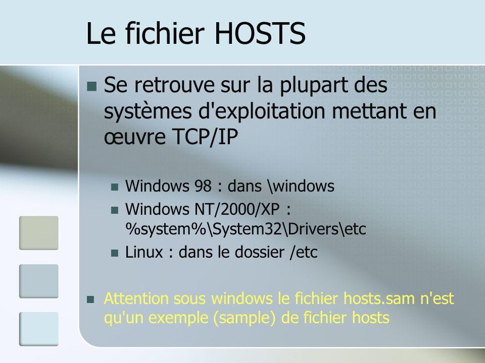 Le fichier HOSTS Se retrouve sur la plupart des systèmes d exploitation mettant en œuvre TCP/IP. Windows 98 : dans \windows.