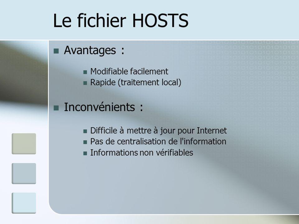 Le fichier HOSTS Avantages : Inconvénients : Modifiable facilement