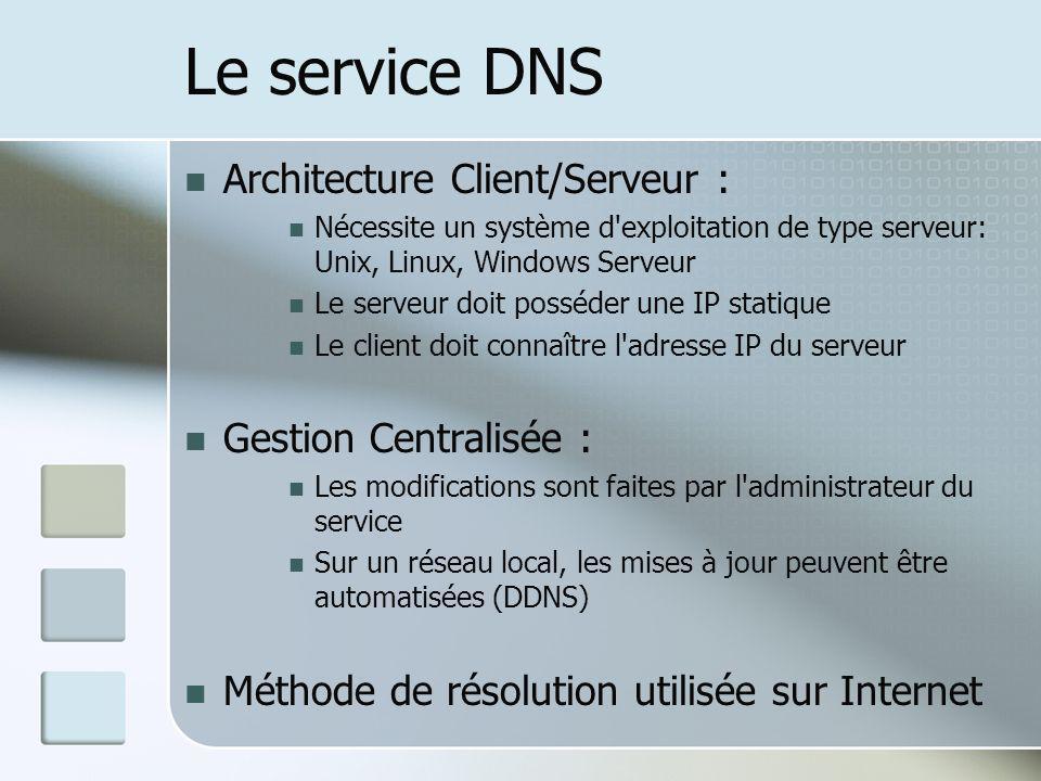 Le service DNS Architecture Client/Serveur : Gestion Centralisée :