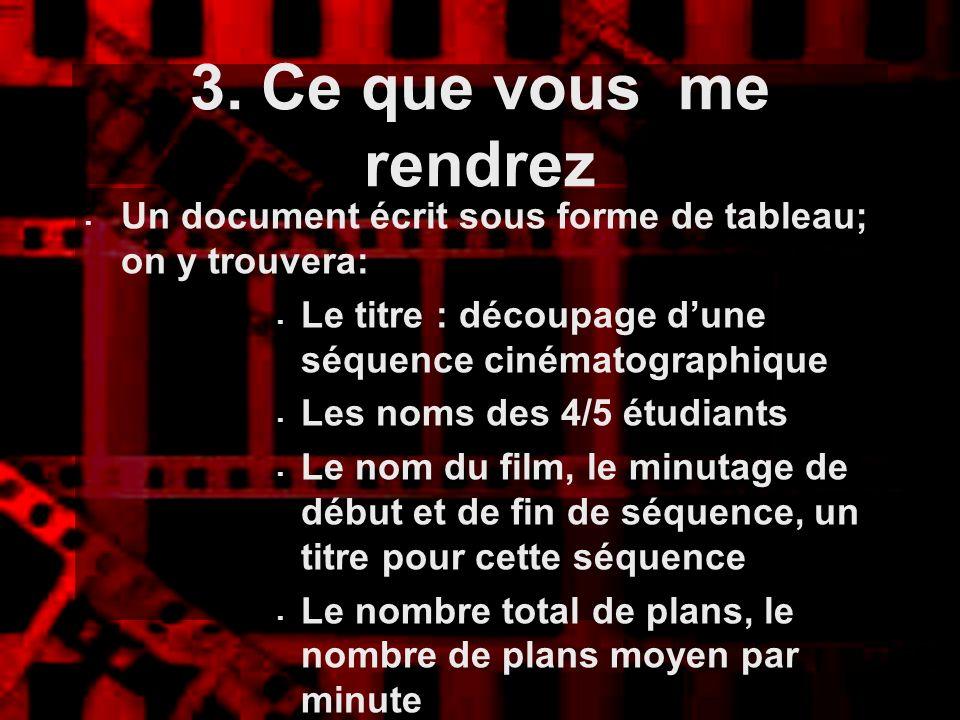 3. Ce que vous me rendrez Un document écrit sous forme de tableau; on y trouvera: Le titre : découpage d'une séquence cinématographique.