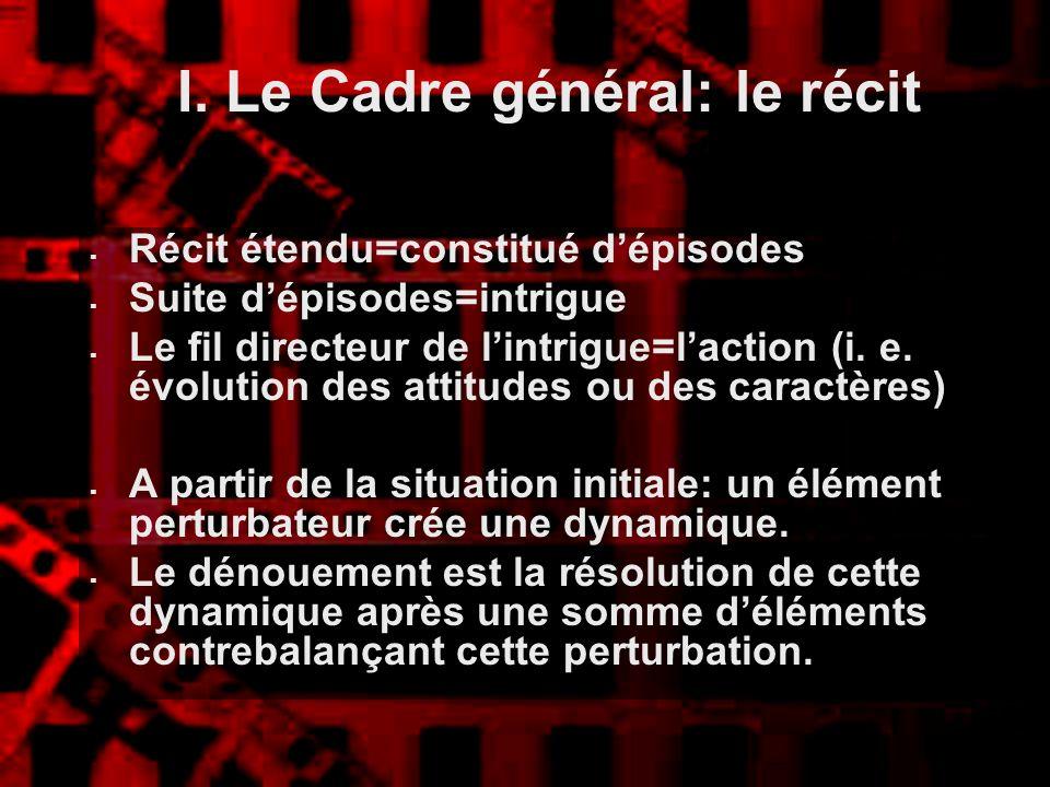 I. Le Cadre général: le récit
