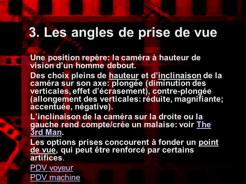 3. Les angles de prise de vue