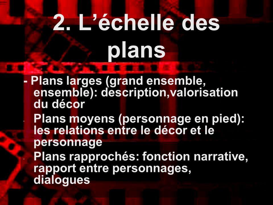 2. L'échelle des plans - Plans larges (grand ensemble, ensemble): description,valorisation du décor.
