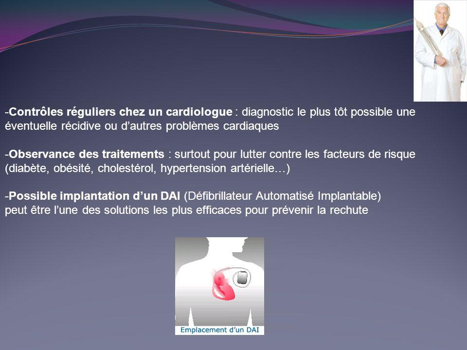 -Contrôles réguliers chez un cardiologue : diagnostic le plus tôt possible une éventuelle récidive ou d'autres problèmes cardiaques