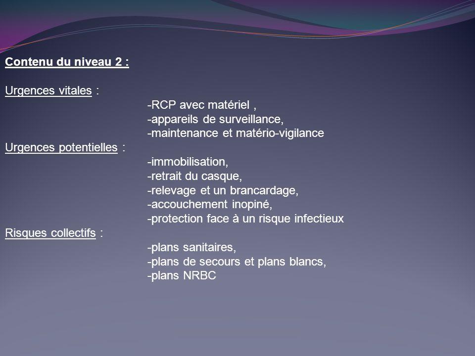Contenu du niveau 2 : Urgences vitales : -RCP avec matériel , -appareils de surveillance, -maintenance et matério-vigilance.