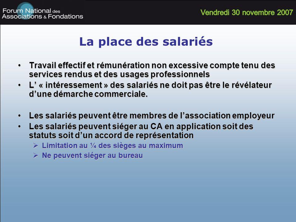 La place des salariésTravail effectif et rémunération non excessive compte tenu des services rendus et des usages professionnels.