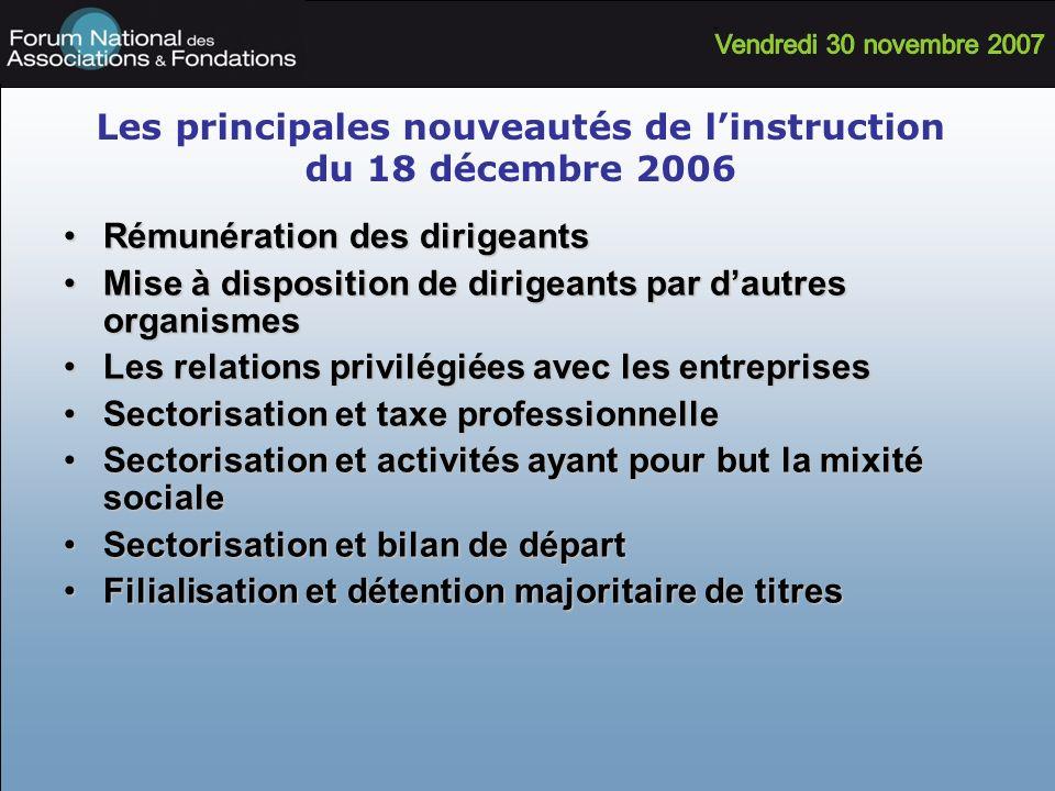 Les principales nouveautés de l'instruction du 18 décembre 2006