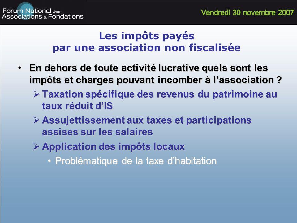 Les impôts payés par une association non fiscalisée