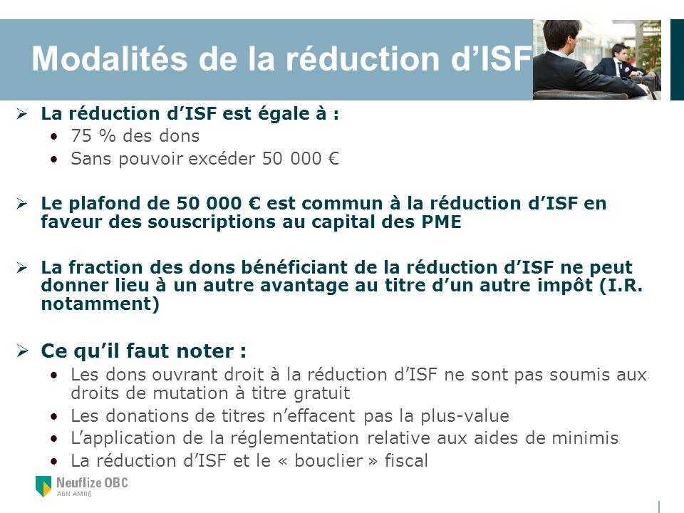 Modalités de la réduction d'ISF