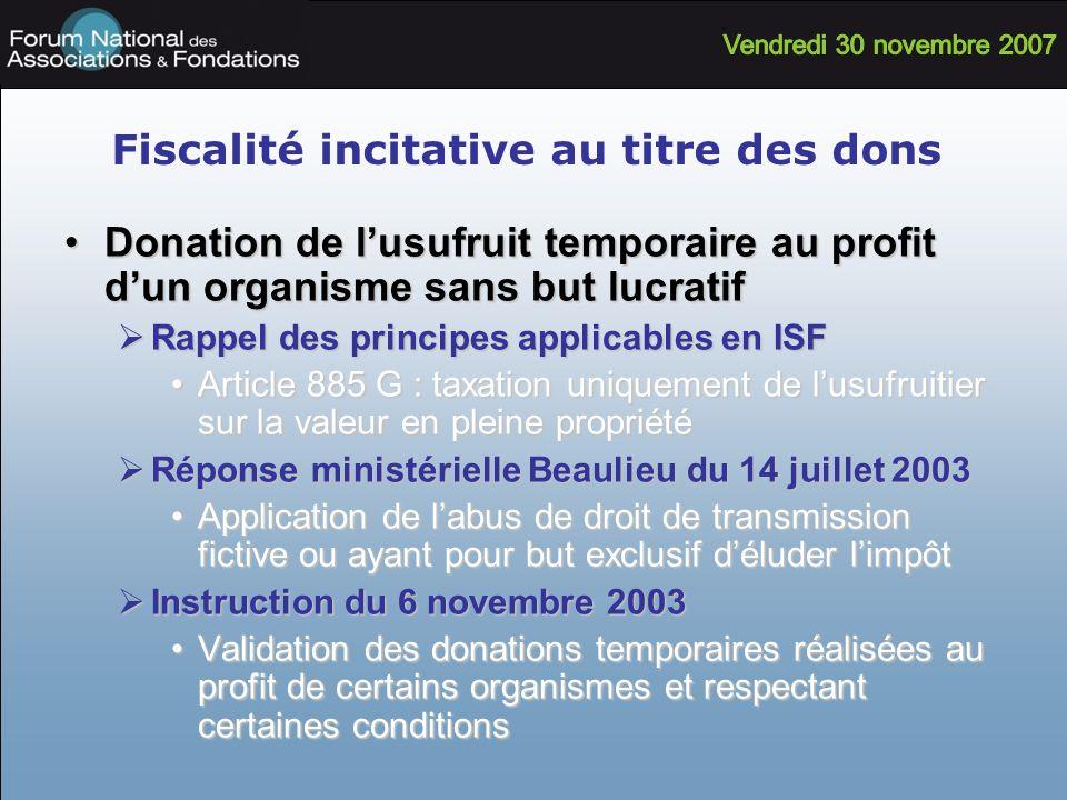 Fiscalité incitative au titre des dons