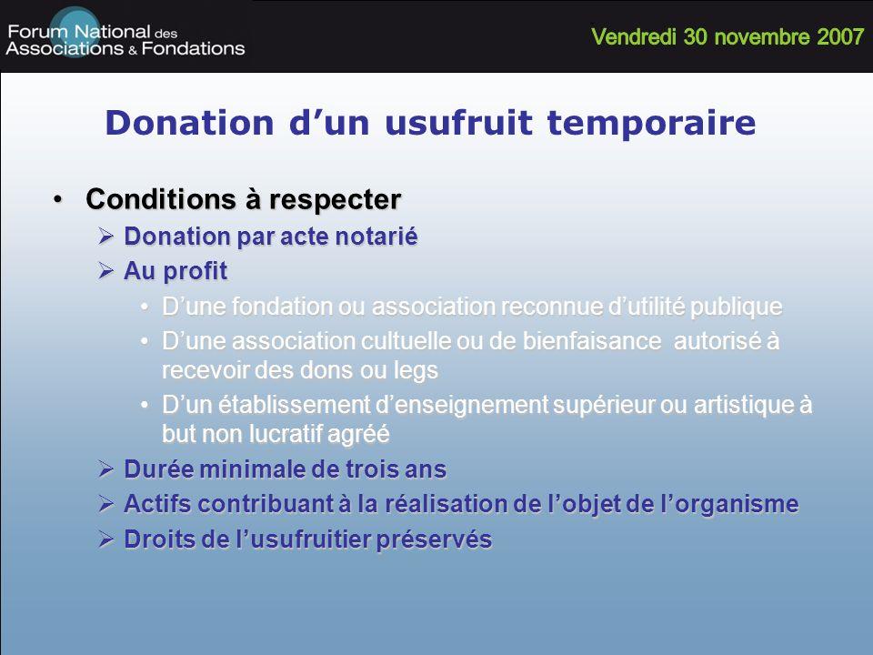 Donation d'un usufruit temporaire