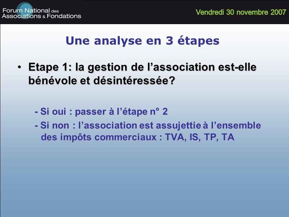 Une analyse en 3 étapes Etape 1: la gestion de l'association est-elle bénévole et désintéressée - Si oui : passer à l'étape n° 2.