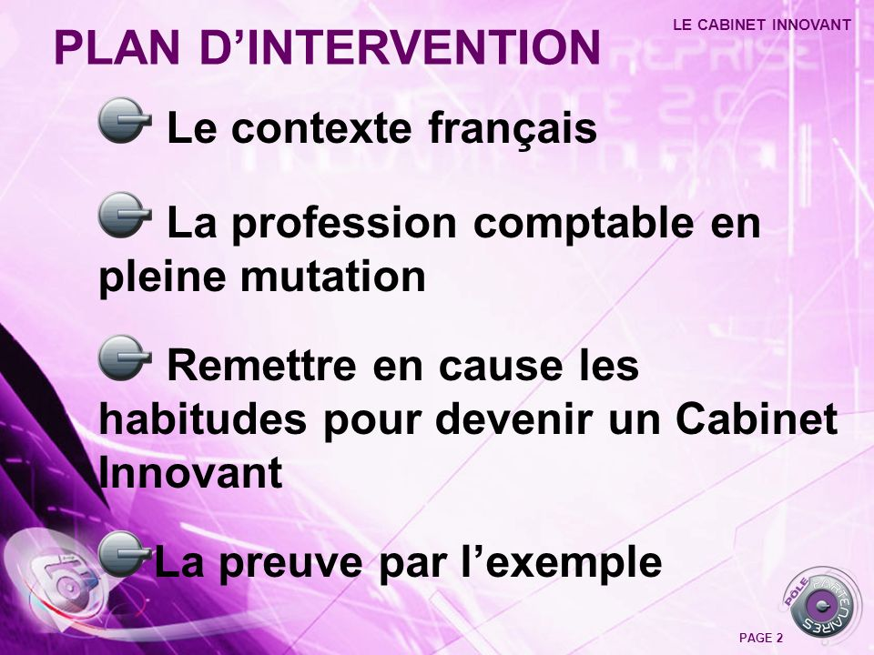 PLAN D'INTERVENTION Le contexte français