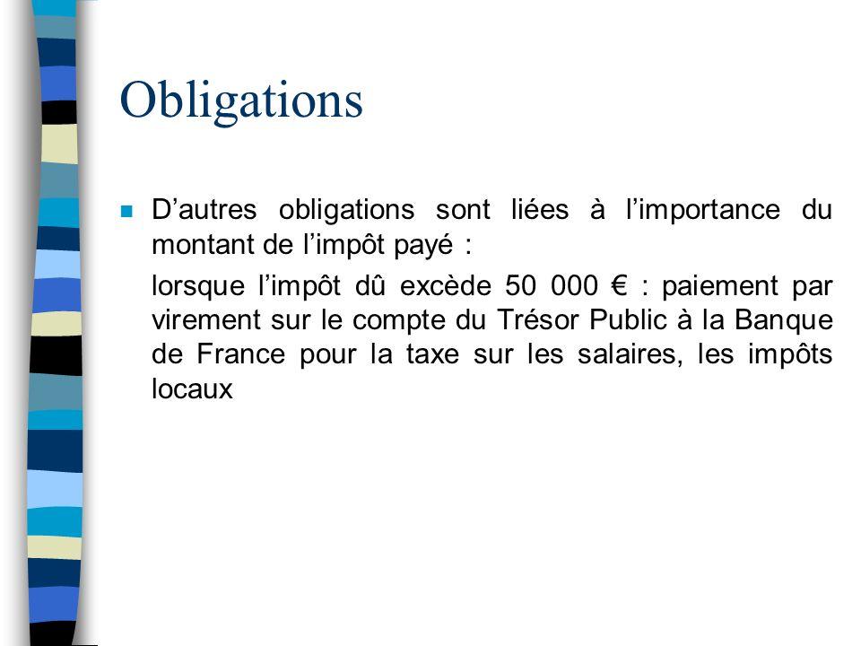 Obligations D'autres obligations sont liées à l'importance du montant de l'impôt payé :