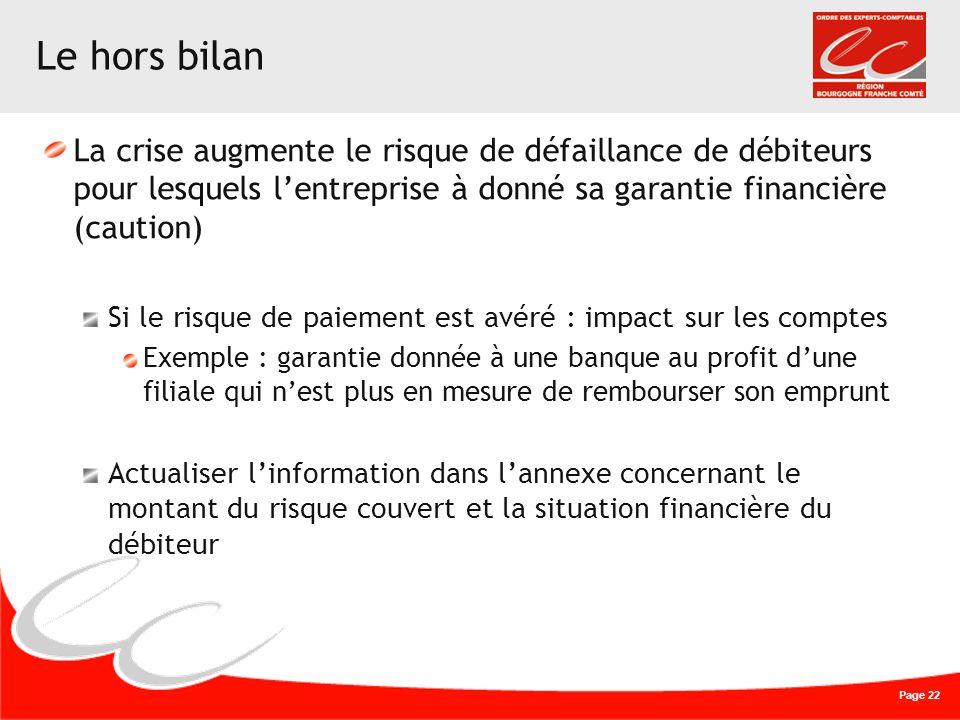 Le hors bilan La crise augmente le risque de défaillance de débiteurs pour lesquels l'entreprise à donné sa garantie financière (caution)