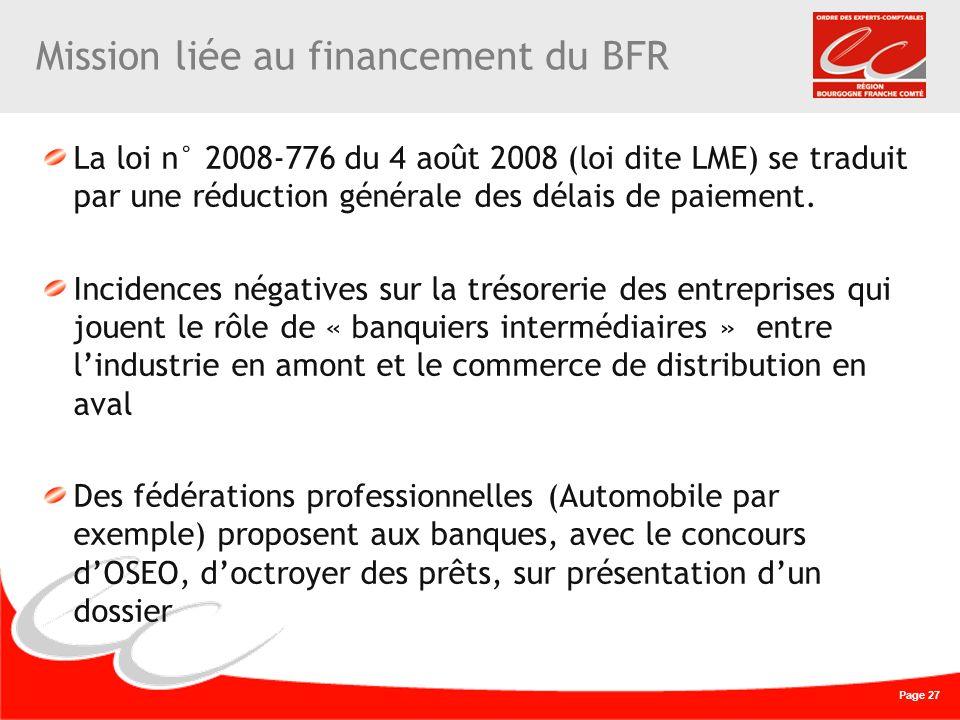Mission liée au financement du BFR