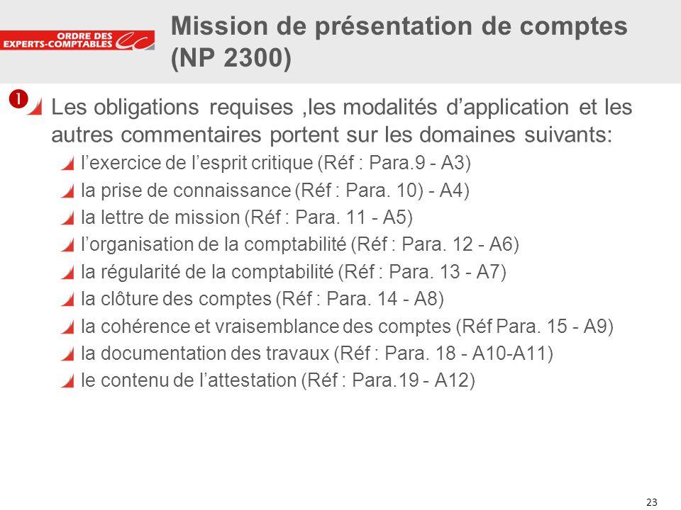 Mission de présentation de comptes (NP 2300)