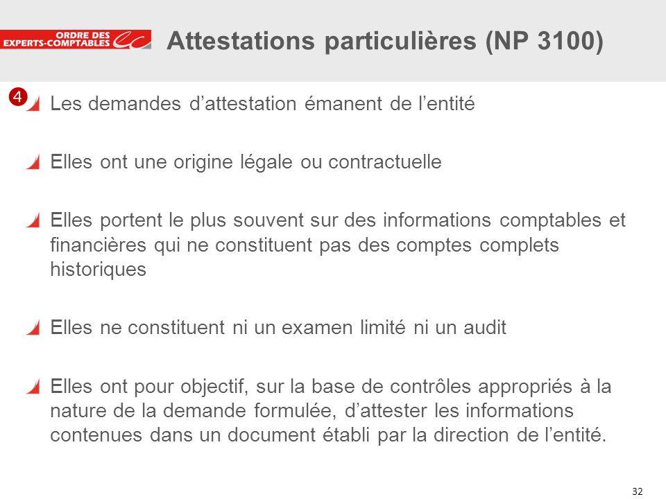 Attestations particulières (NP 3100)