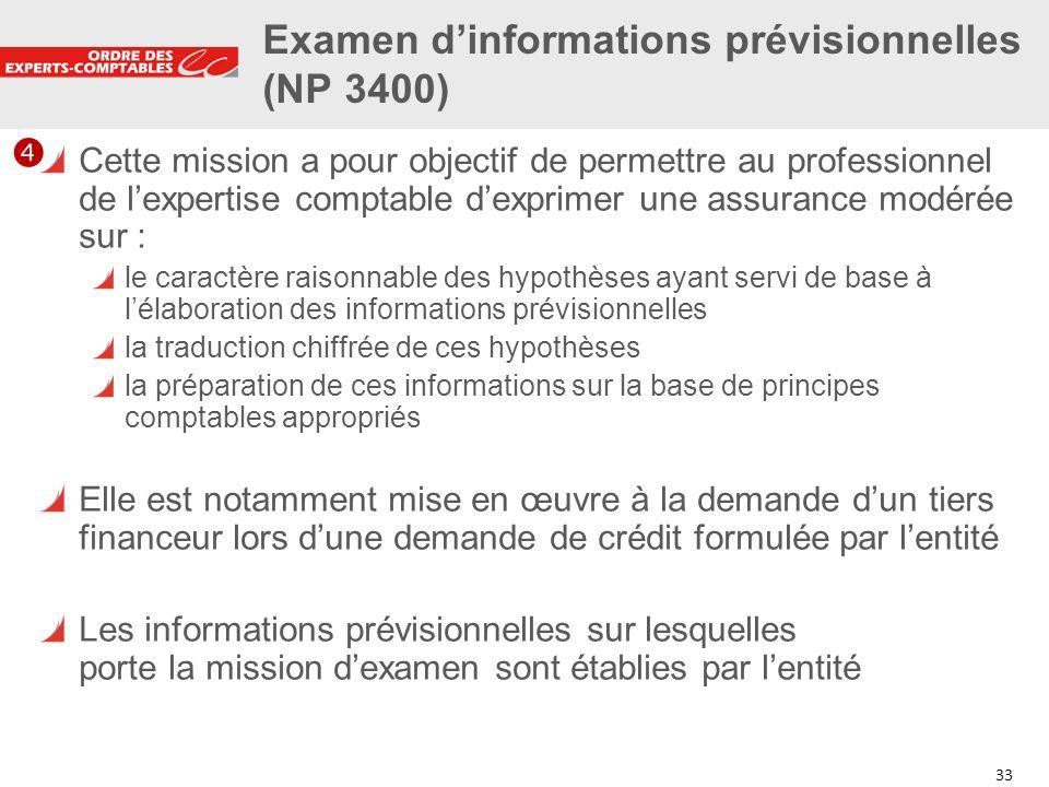 Examen d'informations prévisionnelles (NP 3400)