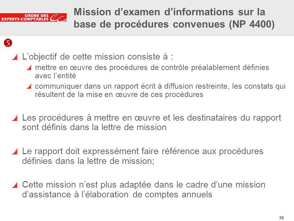 Mission d'examen d'informations sur la base de procédures convenues (NP 4400)