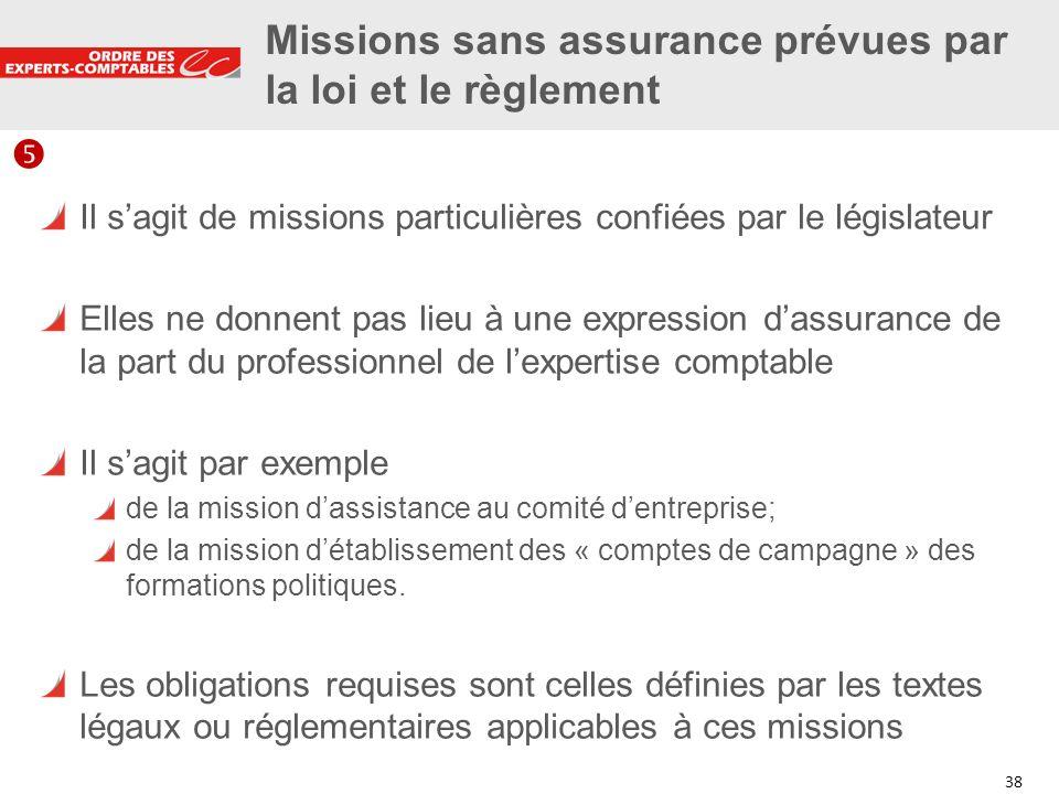Missions sans assurance prévues par la loi et le règlement