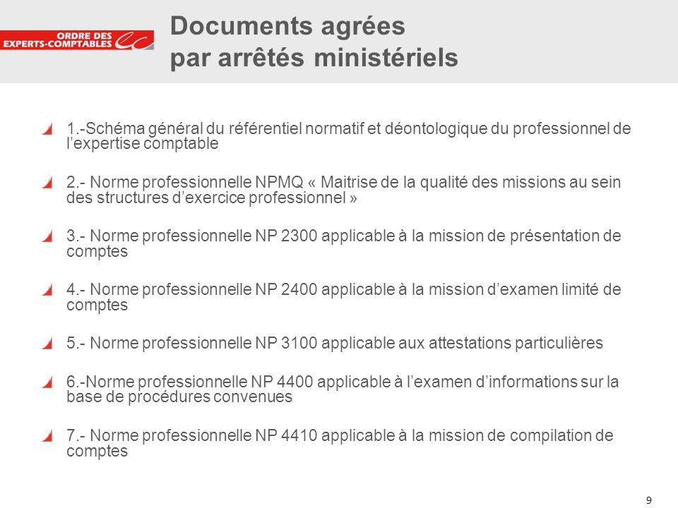 Documents agrées par arrêtés ministériels