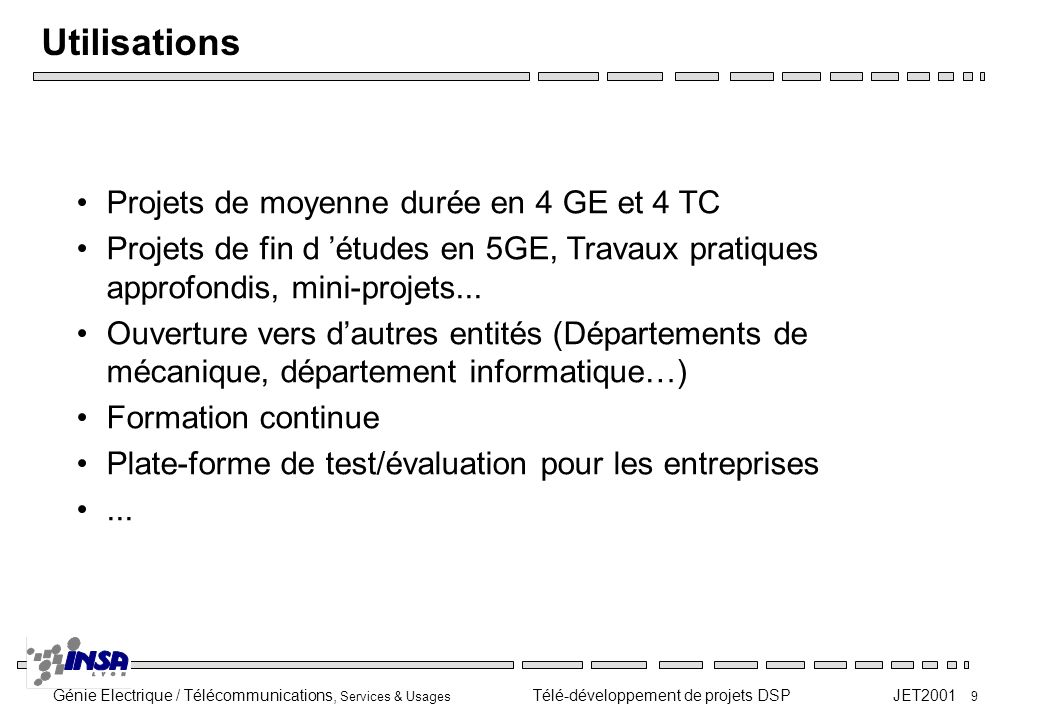 Utilisations Projets de moyenne durée en 4 GE et 4 TC