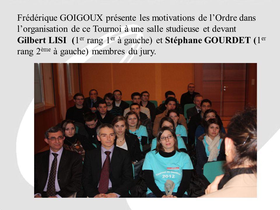 Frédérique GOIGOUX présente les motivations de l'Ordre dans l'organisation de ce Tournoi à une salle studieuse et devant