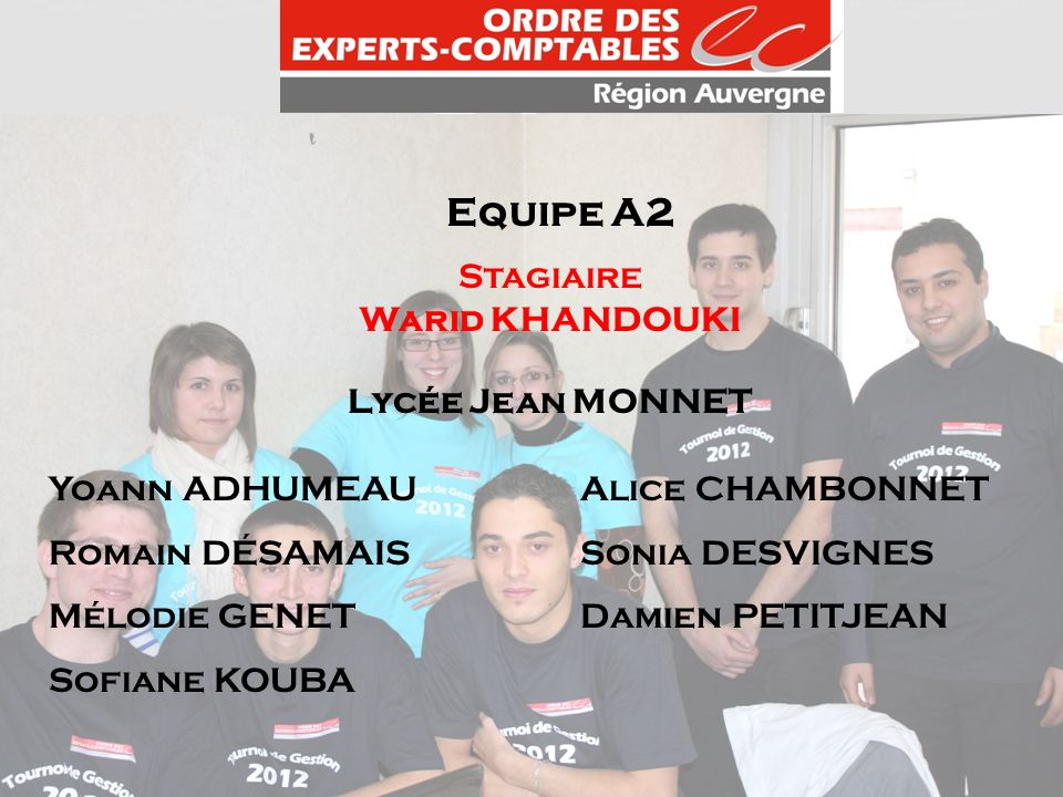 Equipe A2 Stagiaire Warid KHANDOUKI Lycée Jean MONNET